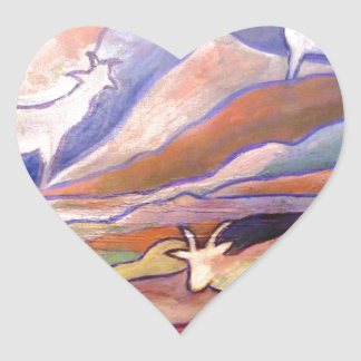 Goats and mountains heart sticker