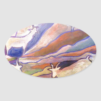 Goats and mountains oval sticker