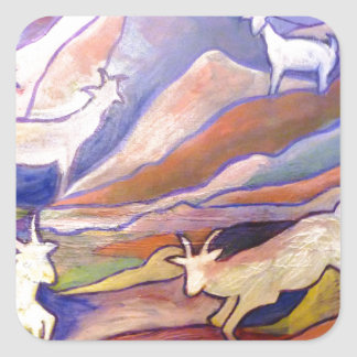 Goats and mountains square sticker