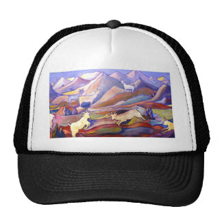 Goats and mountains trucker hat