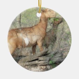 Goats At Work Ceramic Ornament