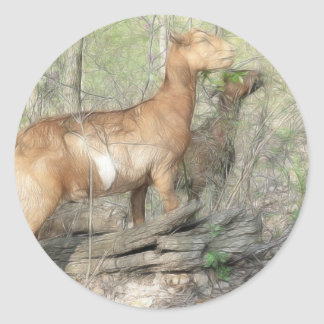 Goats At Work Classic Round Sticker