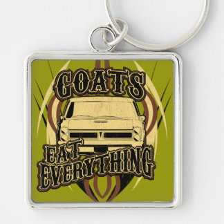 Goats Eat Everything Silver-Colored Square Keychain
