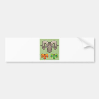 Goats Head Curled Horns Vector Bumper Sticker