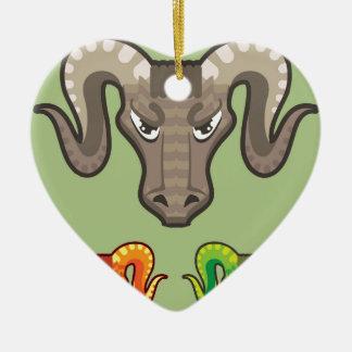Goats Head Curled Horns Vector Ceramic Ornament