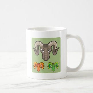 Goats Head Curled Horns Vector Coffee Mug