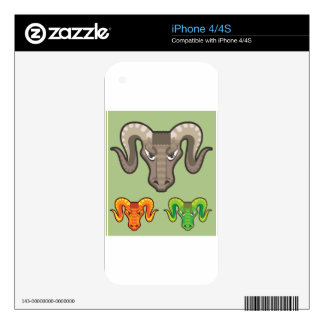 Goats Head Curled Horns Vector Decals For The iPhone 4
