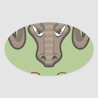 Goats Head Curled Horns Vector Oval Sticker