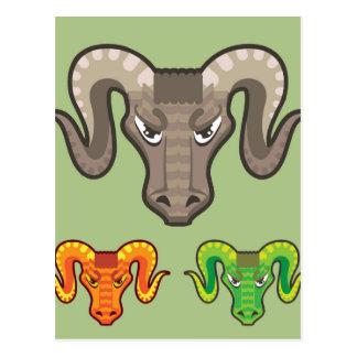 Goats Head Curled Horns Vector Postcard