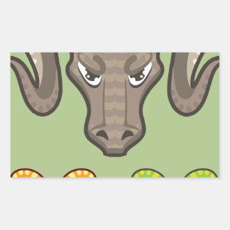 Goats Head Curled Horns Vector Rectangular Sticker