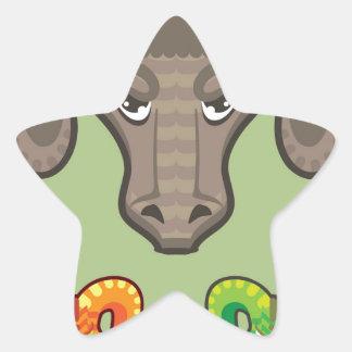 Goats Head Curled Horns Vector Star Sticker
