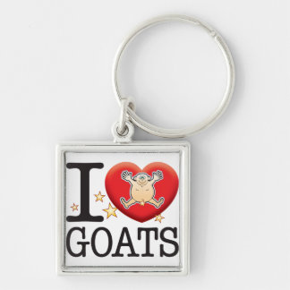 Goats Love Man Silver-Colored Square Keychain