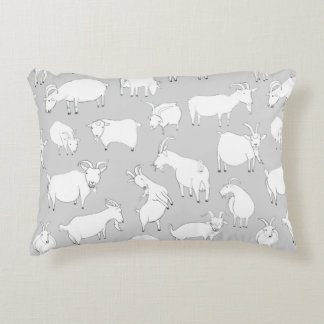 Goats playing - Grey Accent Pillow