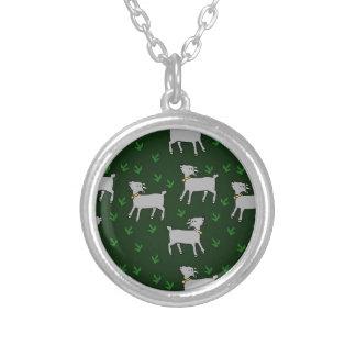 goats round pendant necklace