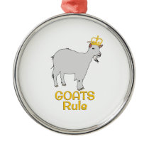Goats Rule Golden Crown Metal Ornament