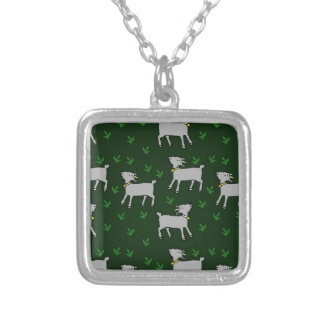 goats silver plated necklace