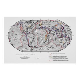 Gobal Map of Earth's Lithosphere Plate Tectonics Posters