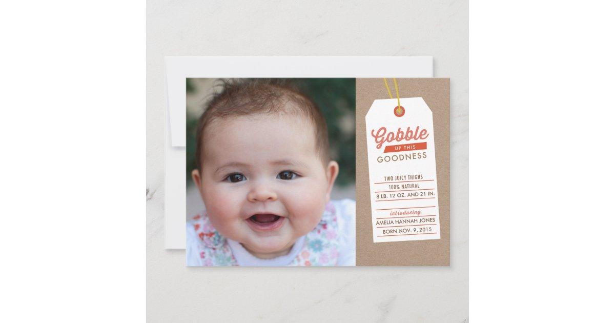 gobble baby up thanksgiving birth announcement
