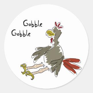 Gobble Gobble Classic Round Sticker