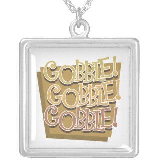 Gobble Gobble Gobble Square Pendant Necklace