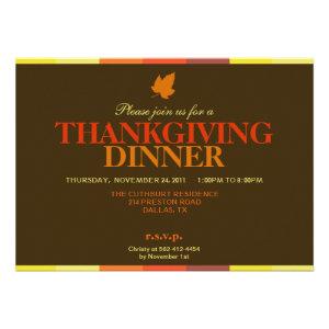 Gobble Gobble Multicolored Thanksgiving Invitation