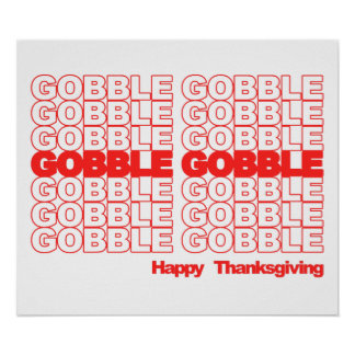 Gobble Gobble Retro Thanksgiving Print