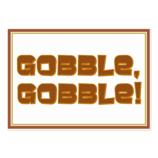 GOBBLE, GOBBLE Text Design Large Business Cards (Pack Of 100)