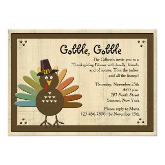 """Gobble, Gobble Thanksgiving Dinner Invitation 5"""" X 7"""" Invitation Card"""
