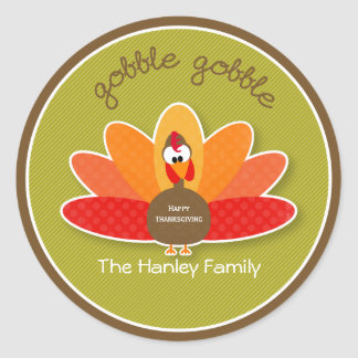 Gobble Gobble Thanksgiving Turkey Sticker