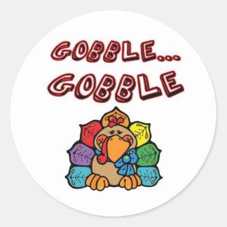 GOBBLE GOBBLE TURKEY CLASSIC ROUND STICKER