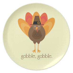 Gobble, Gobble Turkey Melamine Plate