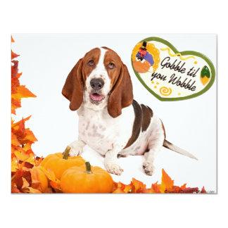 Gobble til you Wobble Thanksgiving Basset 4.25x5.5 Paper Invitation Card