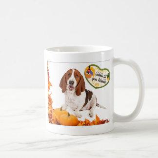 Gobble til you Wobble Thanksgiving Basset Mugs