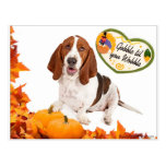 Gobble til you Wobble Thanksgiving Basset Postcard