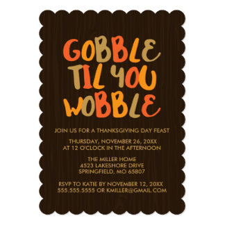 Gobble Til You Wobble Thanksgiving Dinner Card
