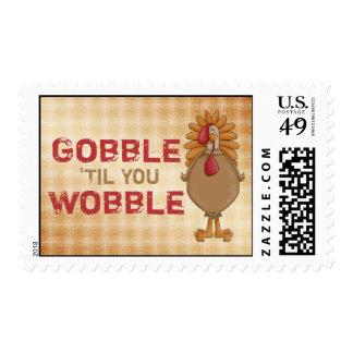 Gobble 'Til You Wobble - Thanksgiving Turkey Stamp