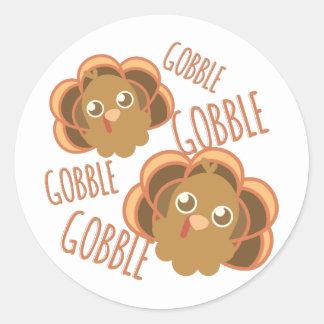 Gobble Turkey Classic Round Sticker