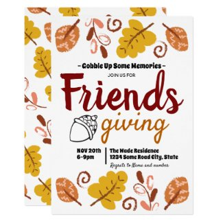 Gobble Up Friendsgiving Leaf Pattern Invitation