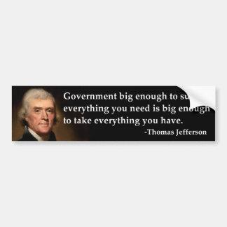 Gobierno de Thomas Jefferson bastante grande Etiqueta De Parachoque