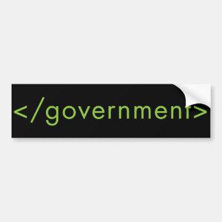 ¡Gobierno del final Etiqueta De Parachoque