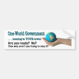 Gobierno del Uno-Mundo Pegatina Para Auto