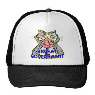 Gobierno federal gordo grande que rasga para arrib gorras de camionero