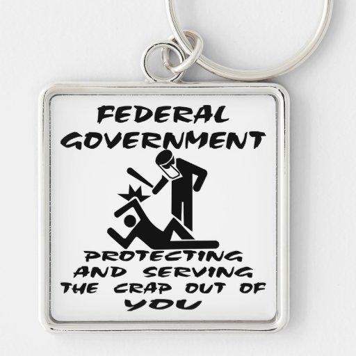 Gobierno federal que protege y que sirve la mierda llavero cuadrado plateado