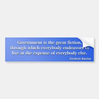 Gobierno la gran ficción (Bastiat) Pegatina Para Auto
