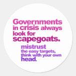 gobiernos en crisis etiquetas redondas
