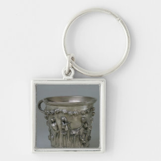 Goblet embossed with skeletons Silver-Colored square keychain