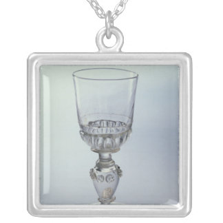 Goblet with round funnel bowl silver plated necklace