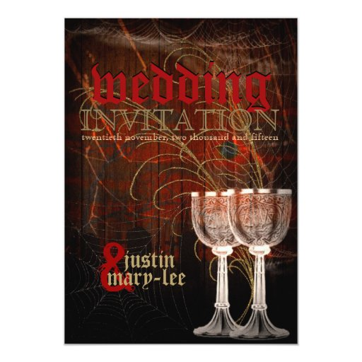 Goblets Gothic Rustic Halloween Wedding Card