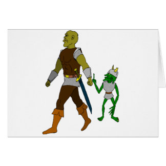 Goblin and Orc (black or white background) Greeting Card