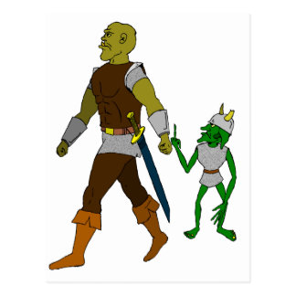 Goblin and Orc black or white background Postcard